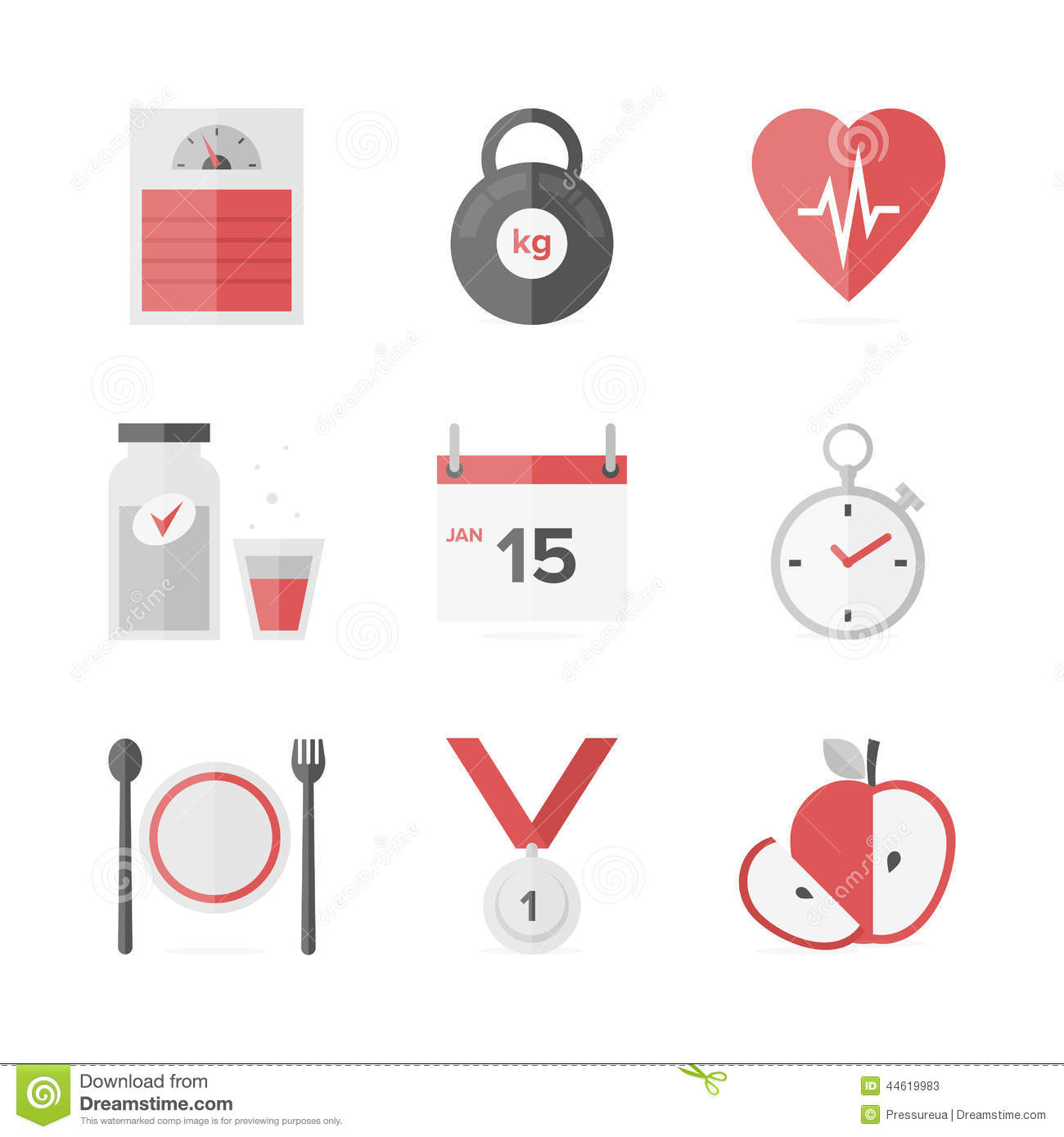 Dieting And Weight Loss Flat Icons Set Stock Vector ...