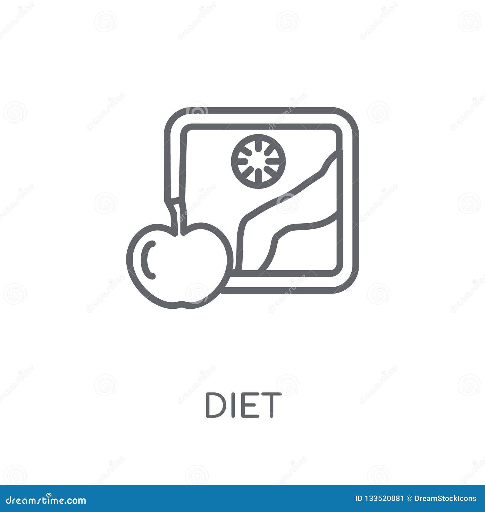 Diety liniowa ikona Nowożytny kontur diety logo pojęcie na bielu plecy