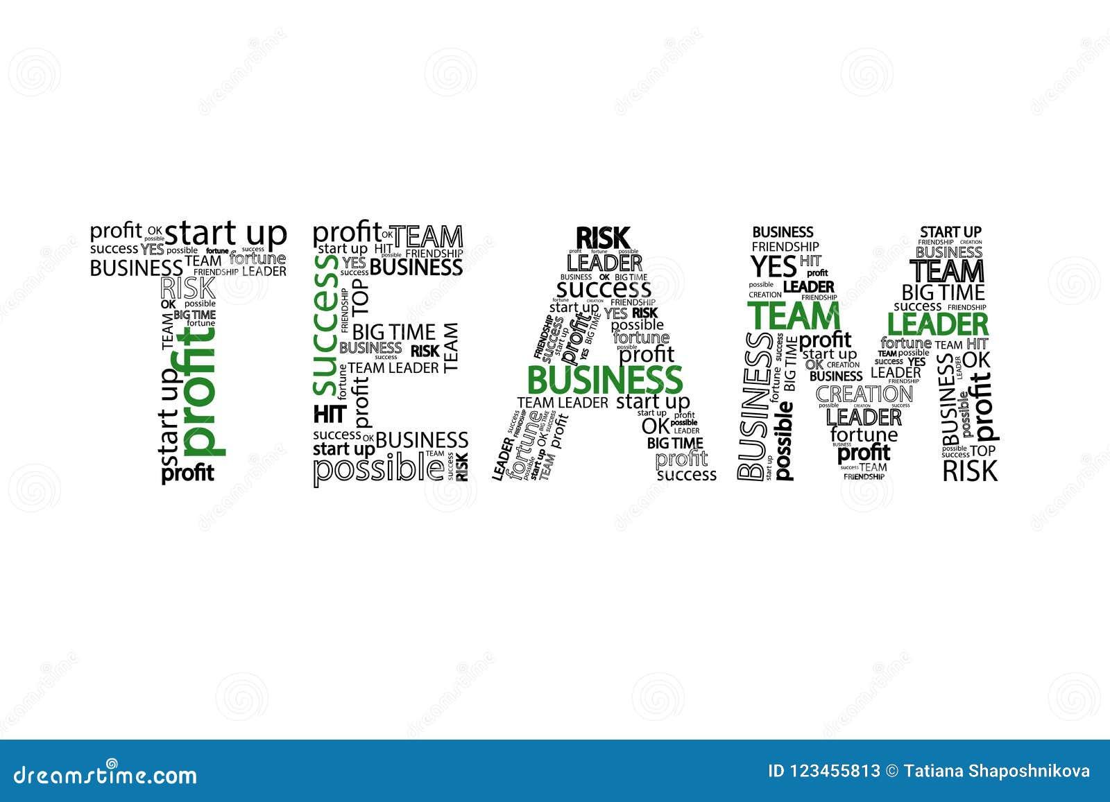 Dievan bedrijfs Team Word clouid concept, op witte achtergrond wordt geïsoleerd