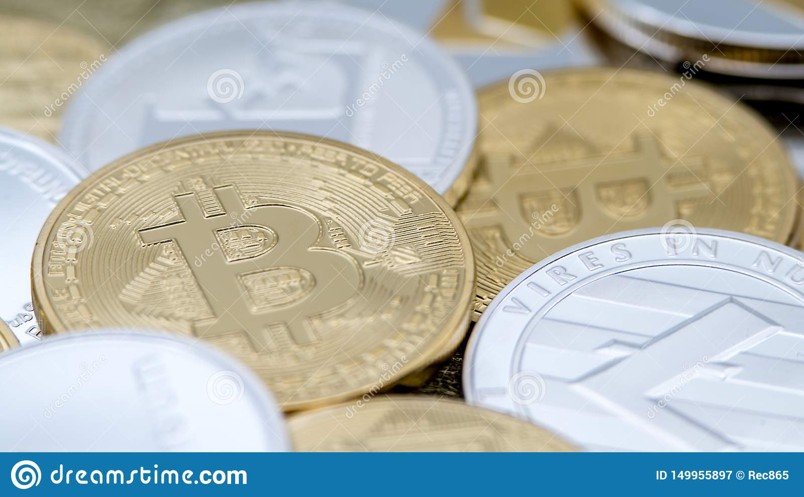 Diferent physical metal currency background. Cryptocurrency coin
