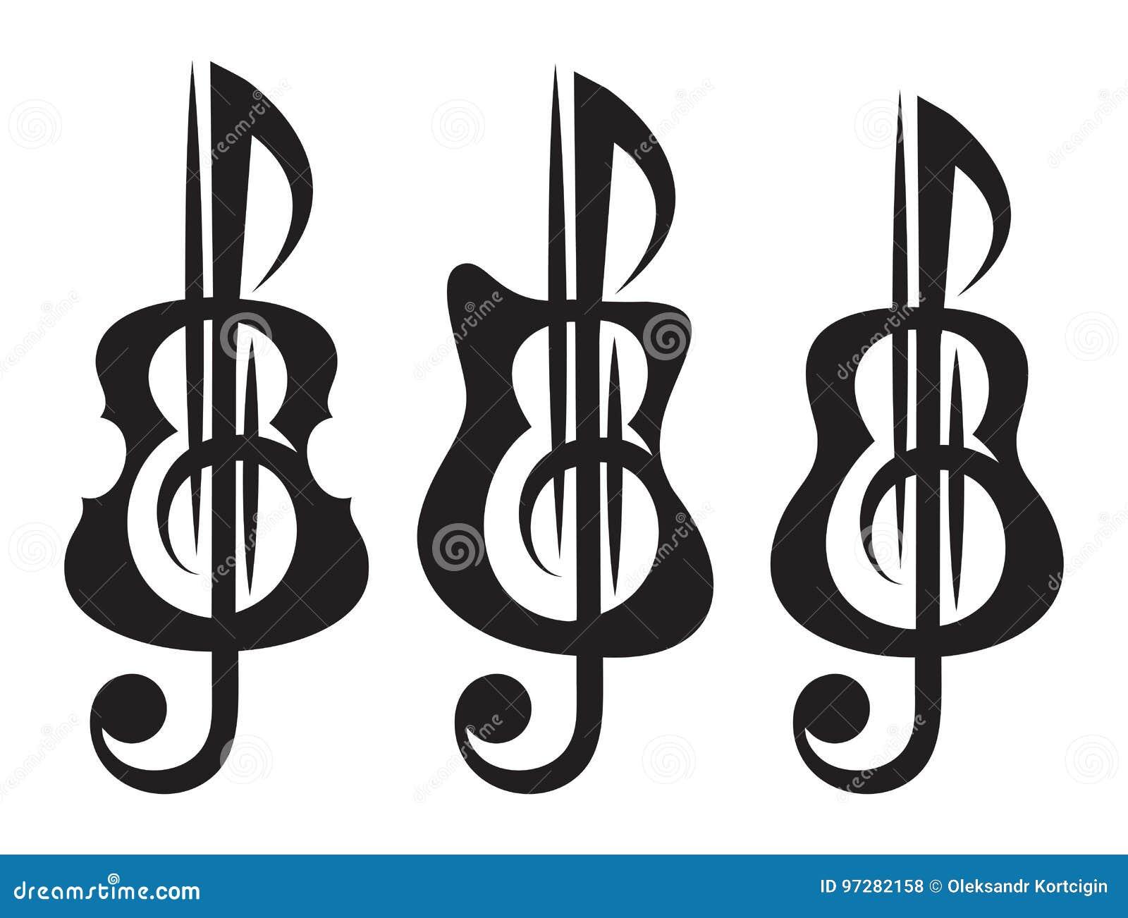 Diferentes Tipos De Guitarra Violín Clave De Sol Sistema De Vektor