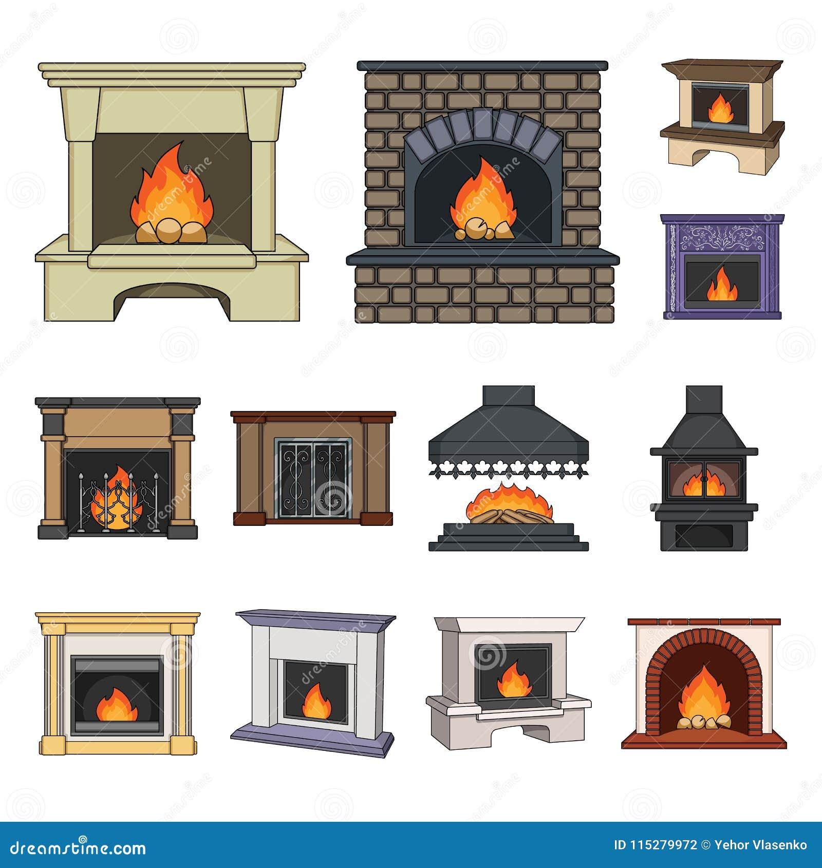 Diferentes tipos de iconos de la historieta de las chimeneas en la colección del sistema para el diseño Web de la acción del símb
