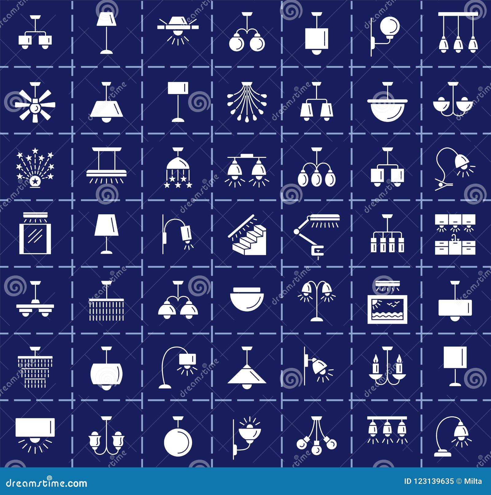 Diferentes tipos de pared, de techo, de tabla y de lámparas de pie moderno