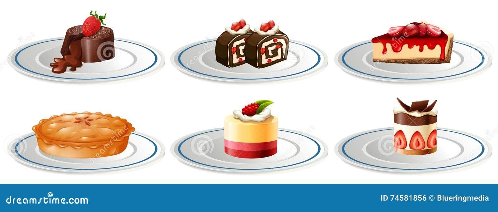 Diferentes tipos de postres en las placas ilustraci n del for Diferentes tipos de viveros