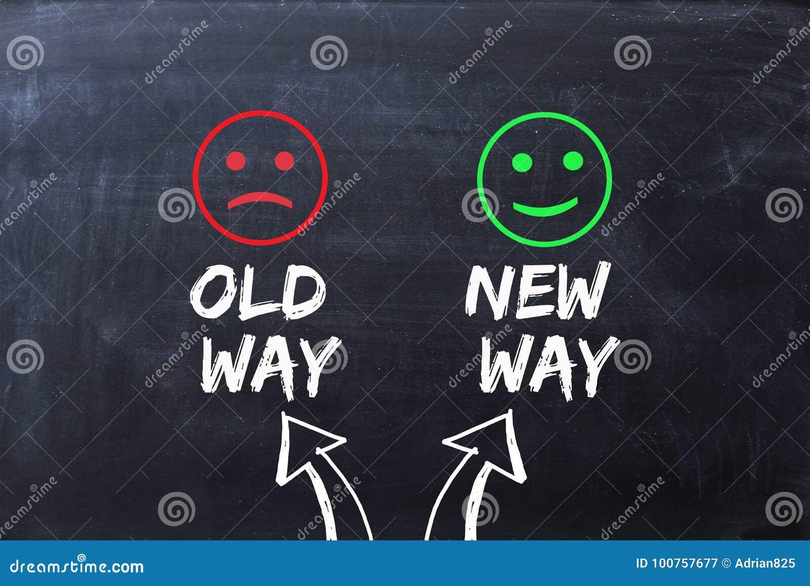 Différence entre la vieille manière et nouvelle la manière, illustrées avec les visages heureux et tristes sur le tableau