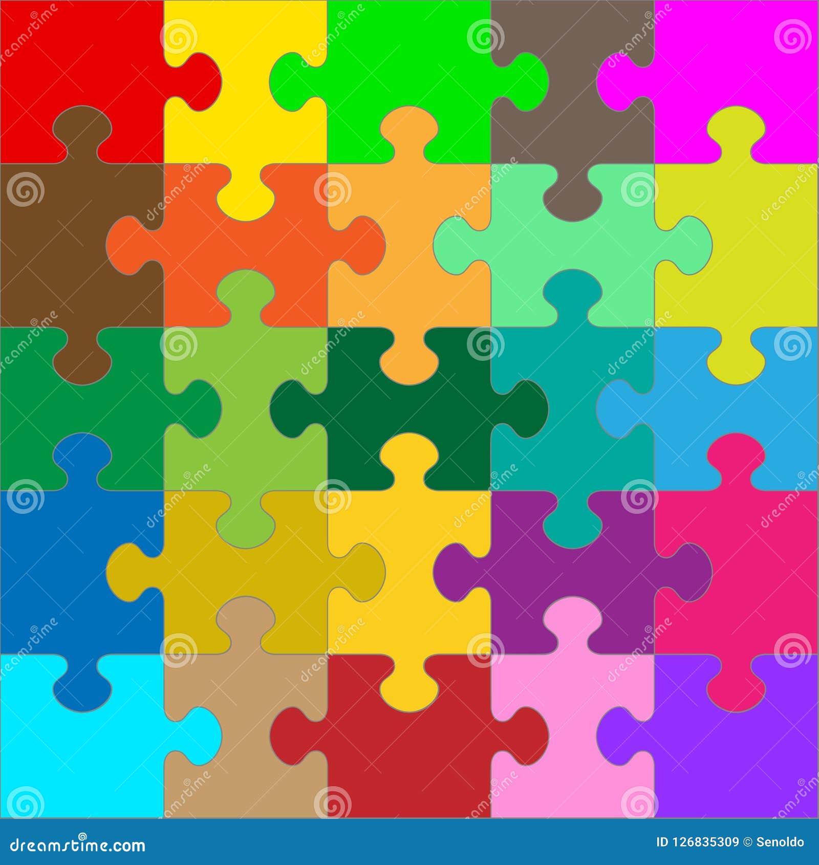 Différent coloré 25 morceaux de puzzle - puzzle