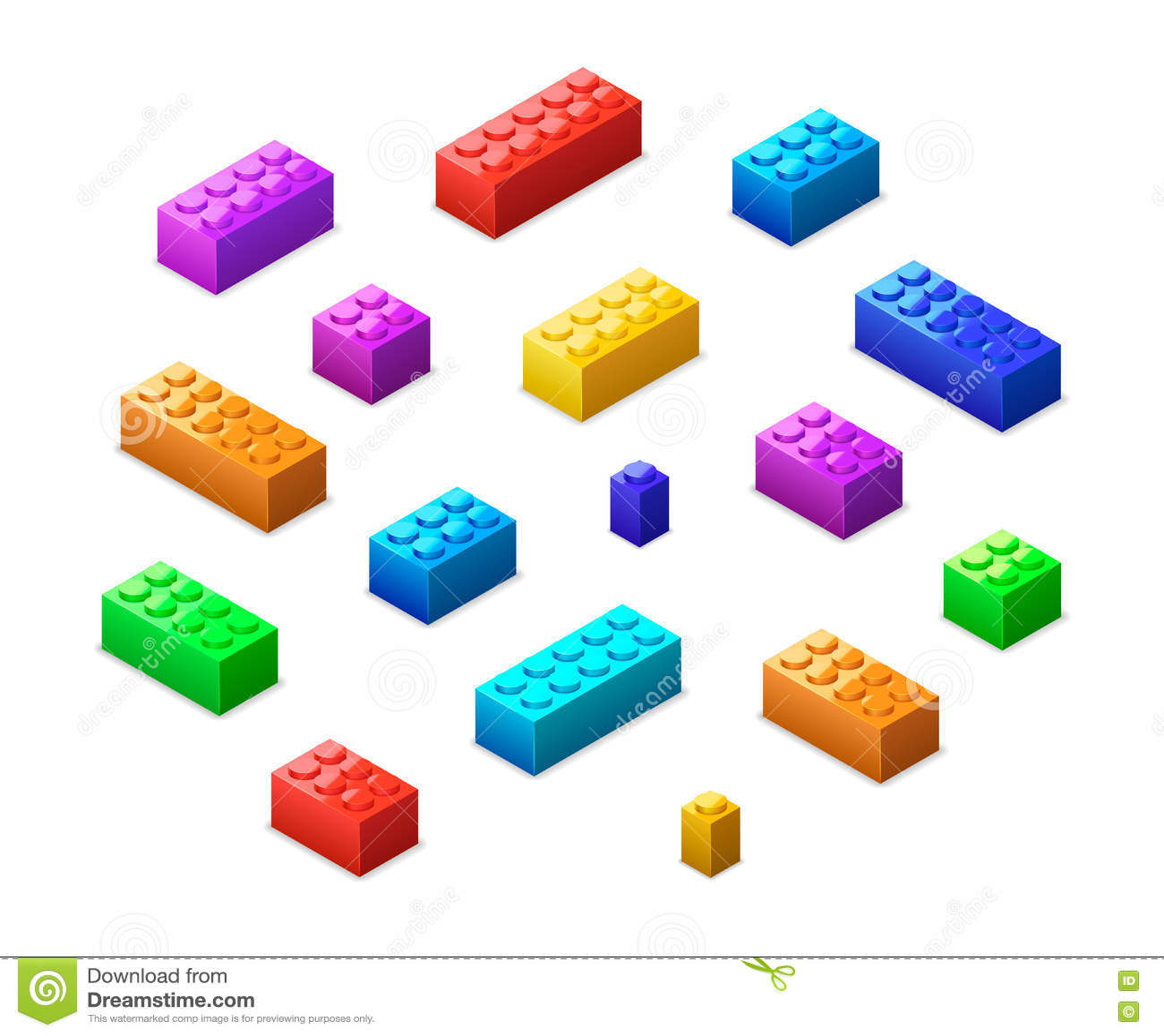 Différentes briques colorées de lego dans la vue isométrique d isolement sur le blanc