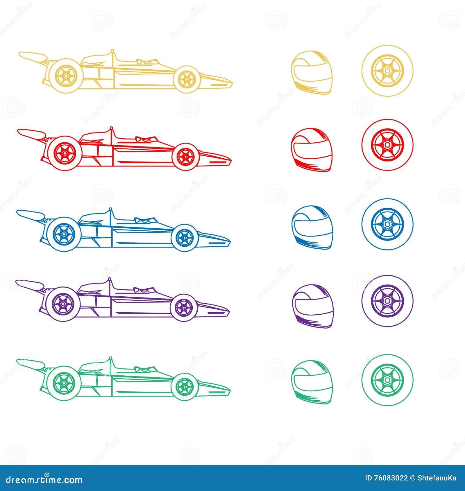 Différentes couleurs d une voiture de sport, d une casque antichoc et d une roue