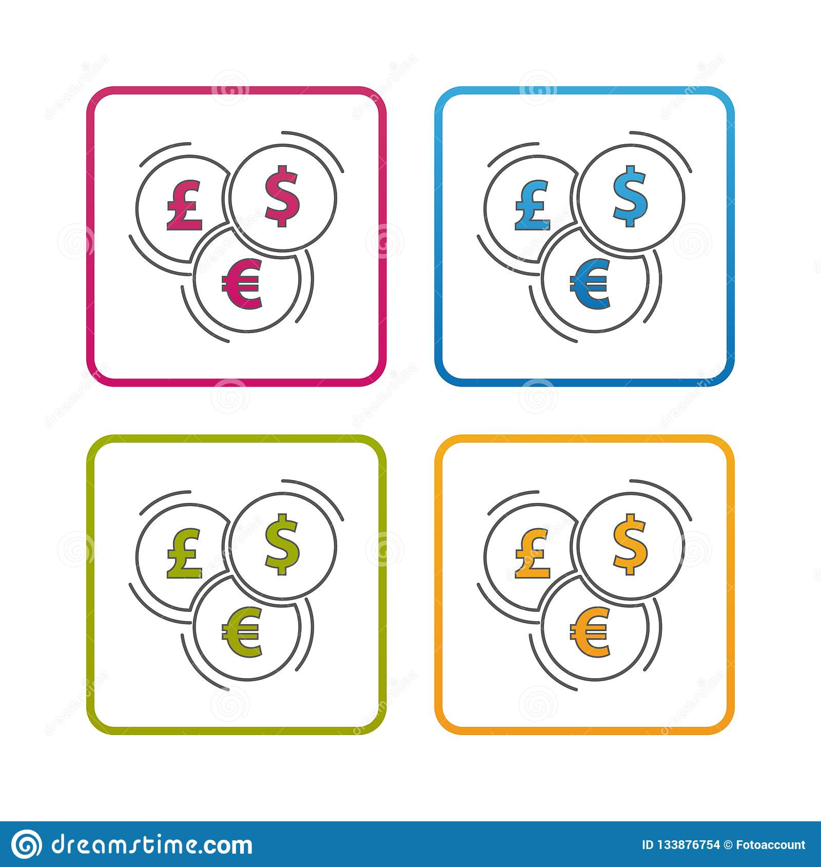 Différentes devises - contour a dénommé l icône - course Editable - illustration colorée de vecteur - d isolement sur le fond bla