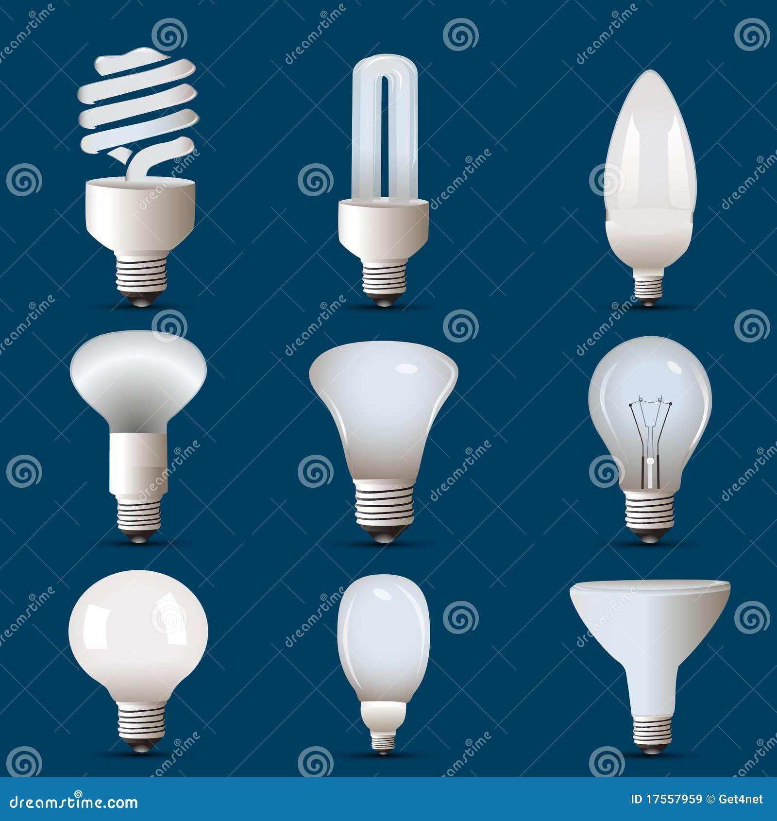 diff rentes formes de cfl et d 39 ampoule images libres de. Black Bedroom Furniture Sets. Home Design Ideas