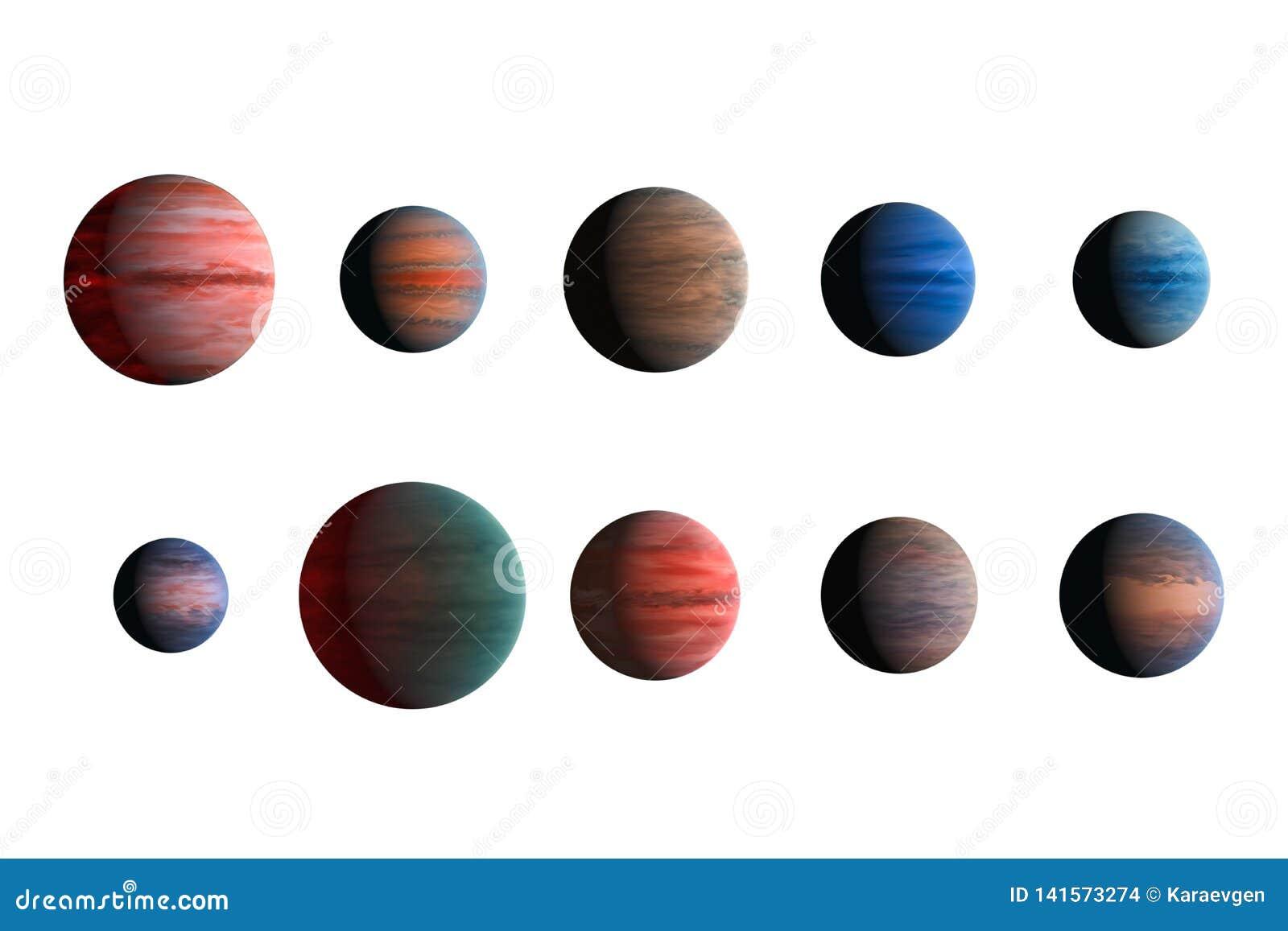Différentes planètes d isolement sur le fond blanc Éléments de cette image meublés par la NASA