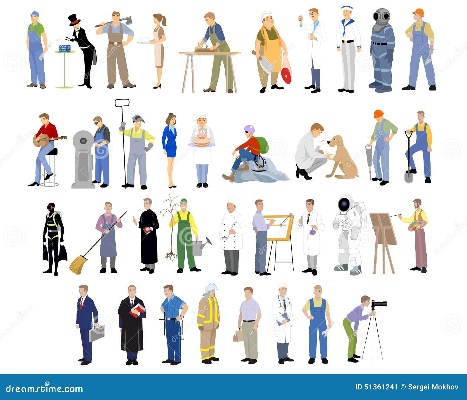 Différentes professions réglées