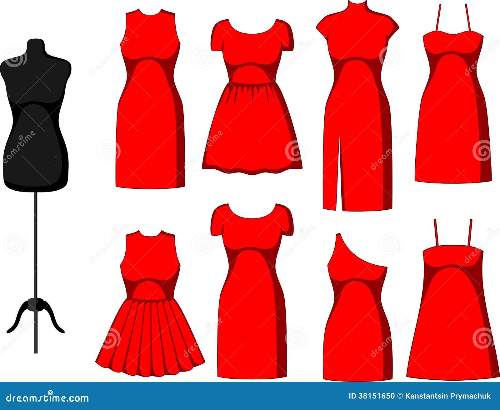 b0470c5a17d Différentes robes de cocktail et de soirée et mannequin. Illustration de  vecteur