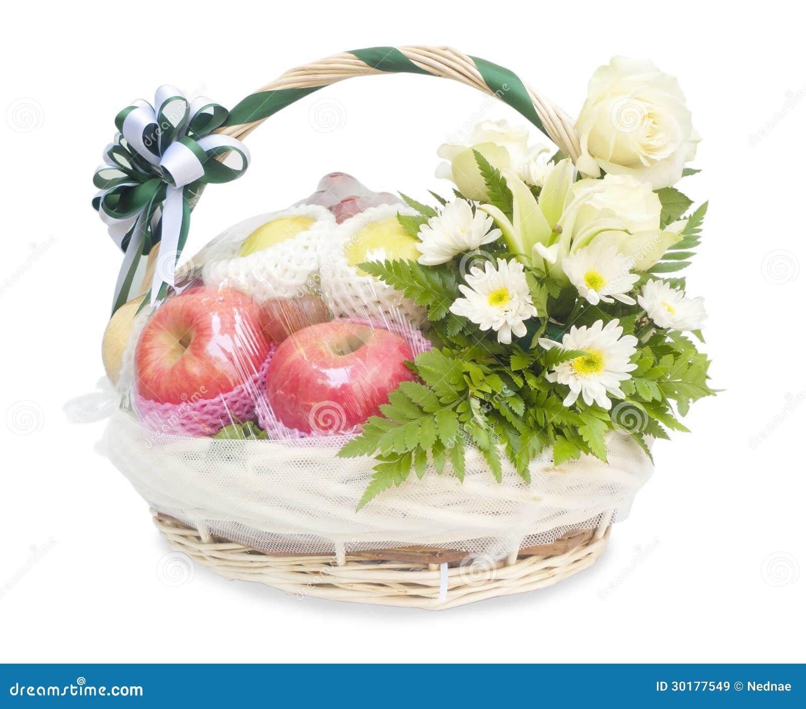 diff rents fruits et fleurs dans le panier en osier images libres de droits image 30177549. Black Bedroom Furniture Sets. Home Design Ideas