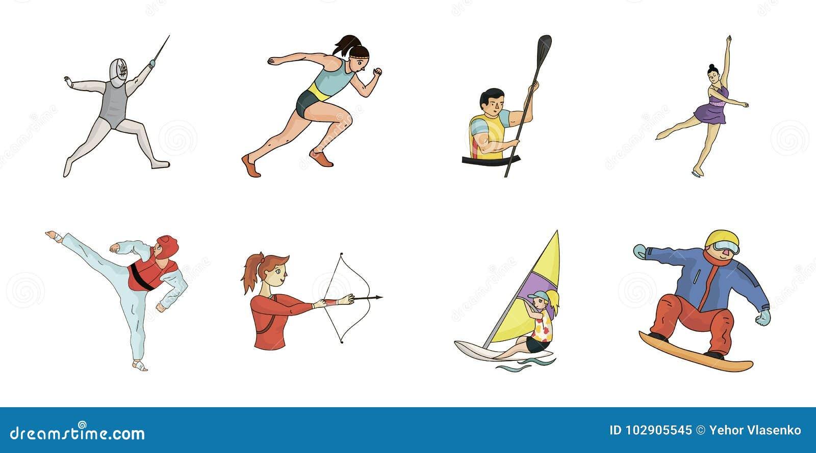 Différents genres d icônes de sports dans la collection d ensemble pour la conception L athlète, concours dirigent l illustration