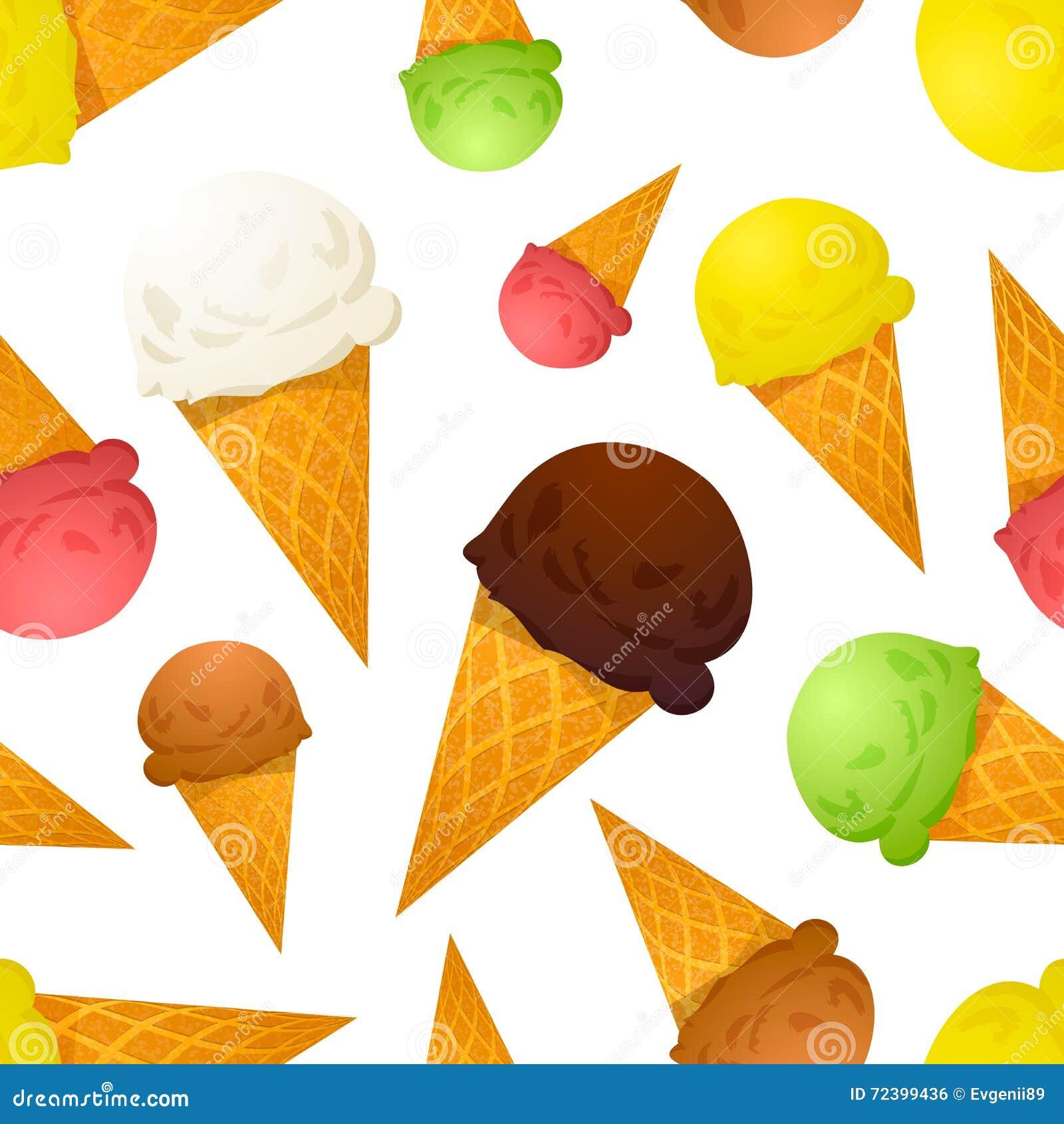 Différents goûts de cornets de crème glacée colorés lumineux, modèle sans couture