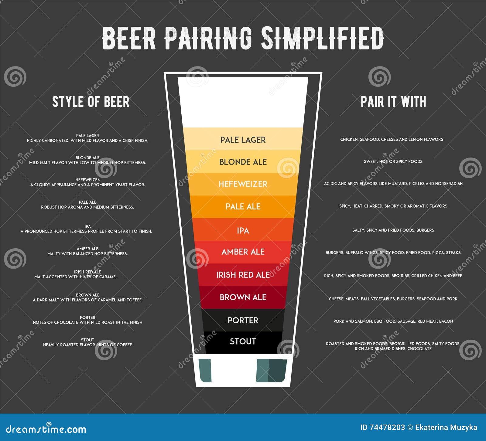Différents types d illustration de vecteur d affiche de bière