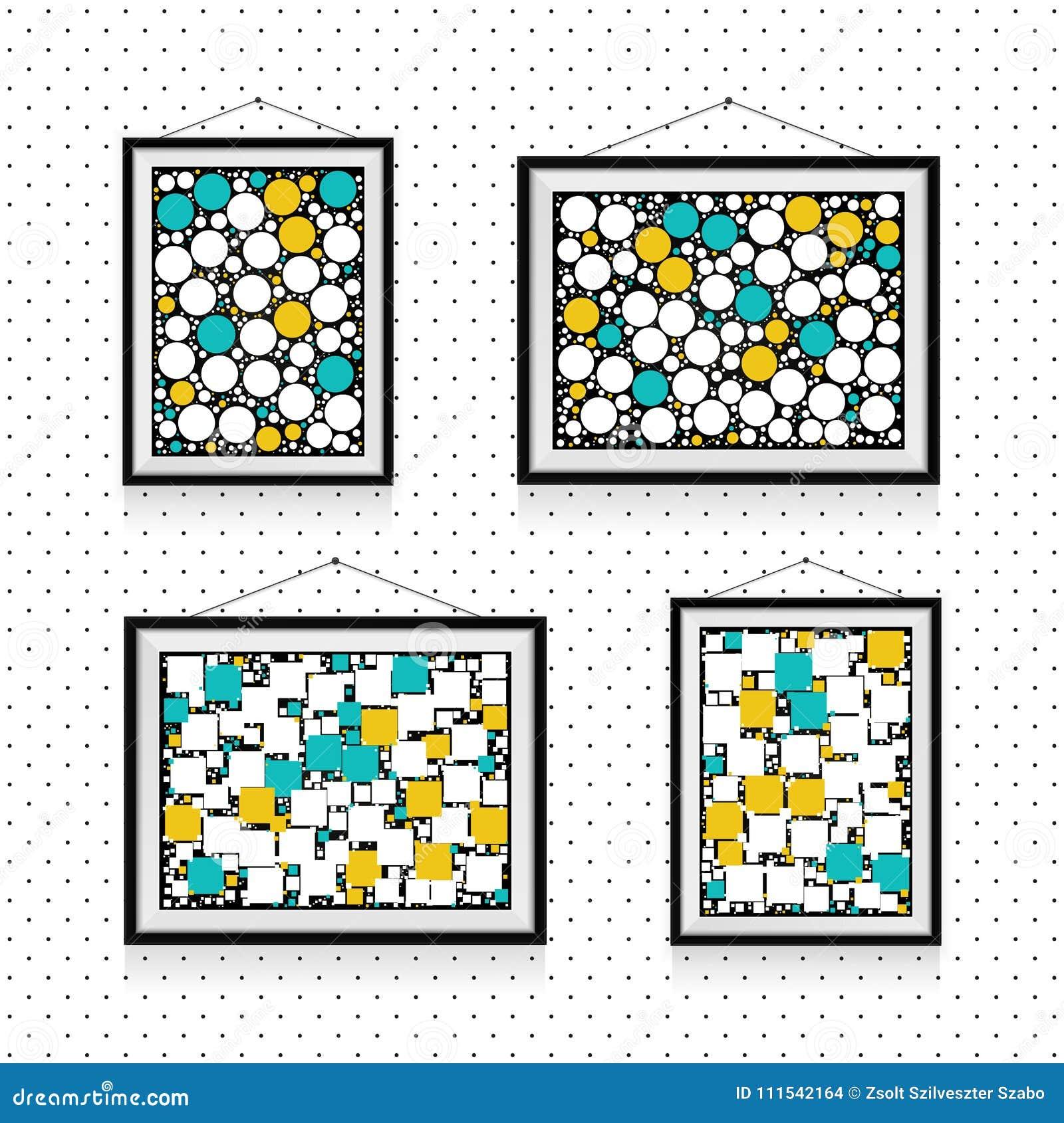 Différents types de cadres de photo avec des cercles et places sur le mur - calibre de fond