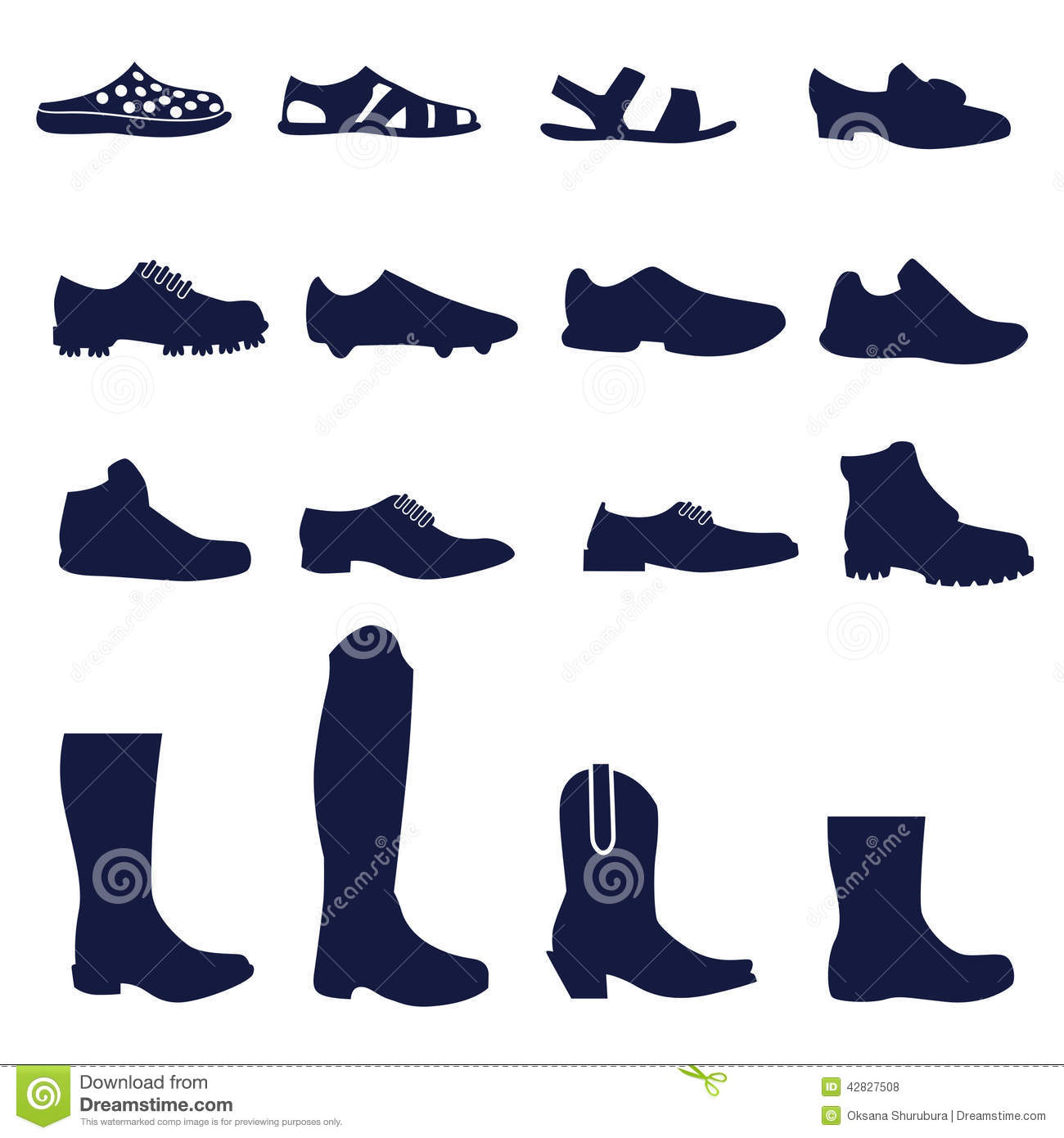 Diff rents types de chaussures des hommes illustration de - Differents types de miroirs ...
