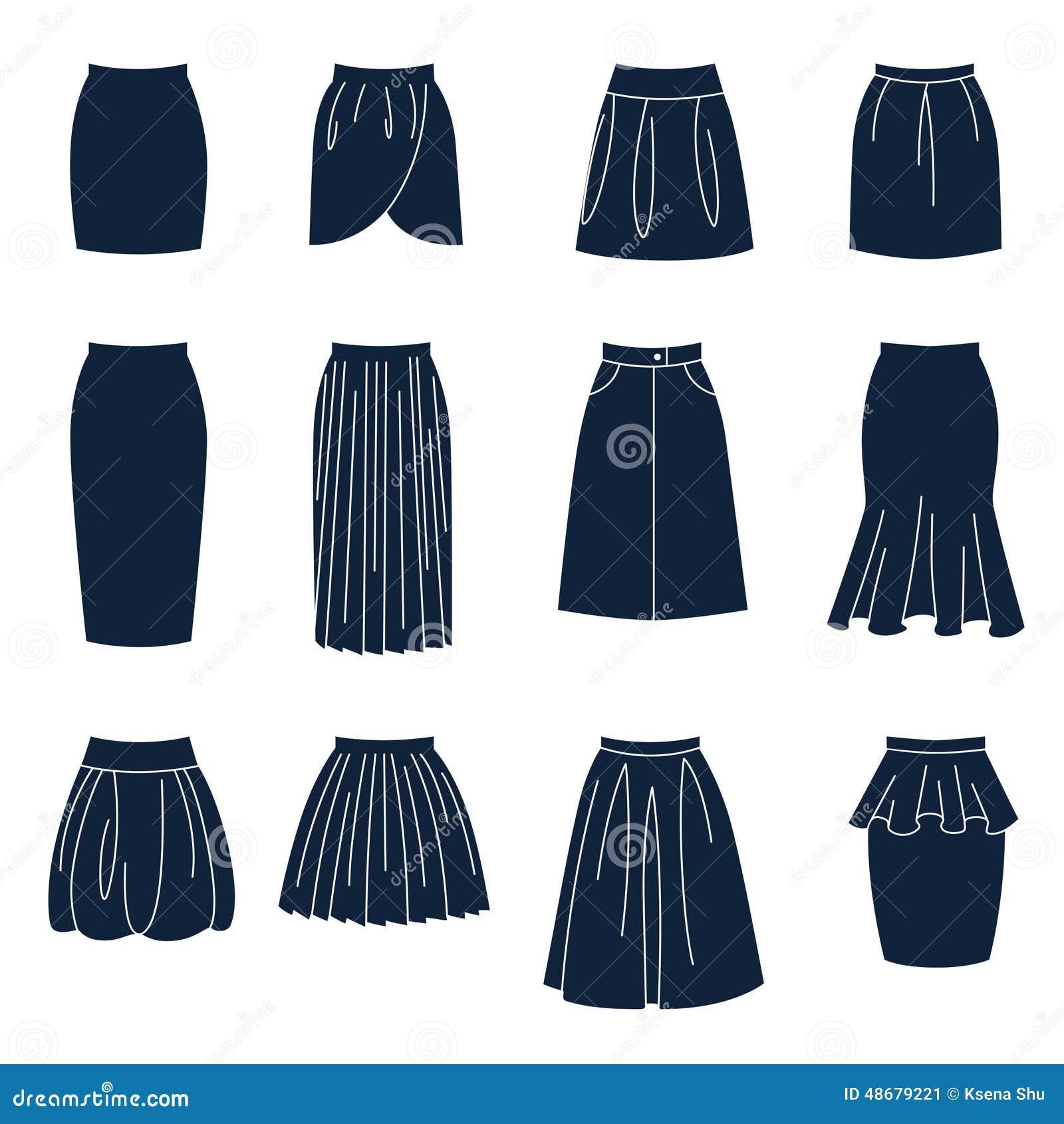diff rents types de jupes de femmes illustration de vecteur image 48679221. Black Bedroom Furniture Sets. Home Design Ideas
