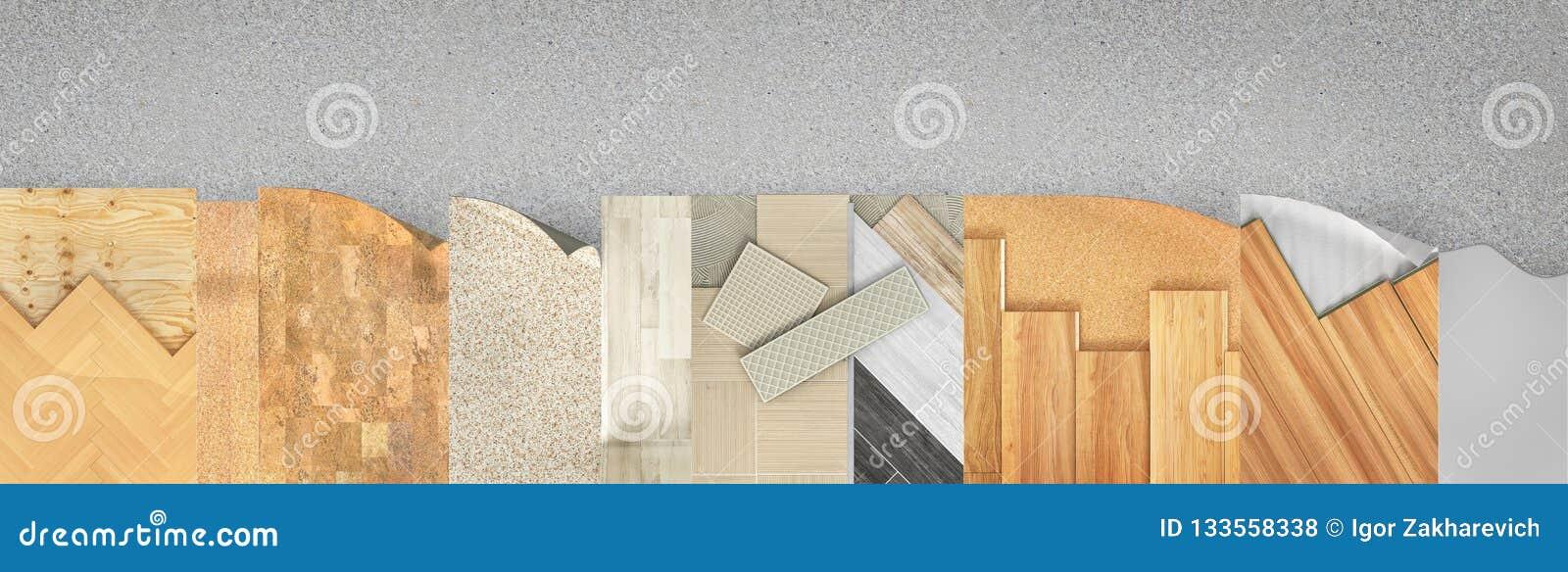 Différents types revêtement de plancher Ensemble de morceaux de revêtement différent de plancher