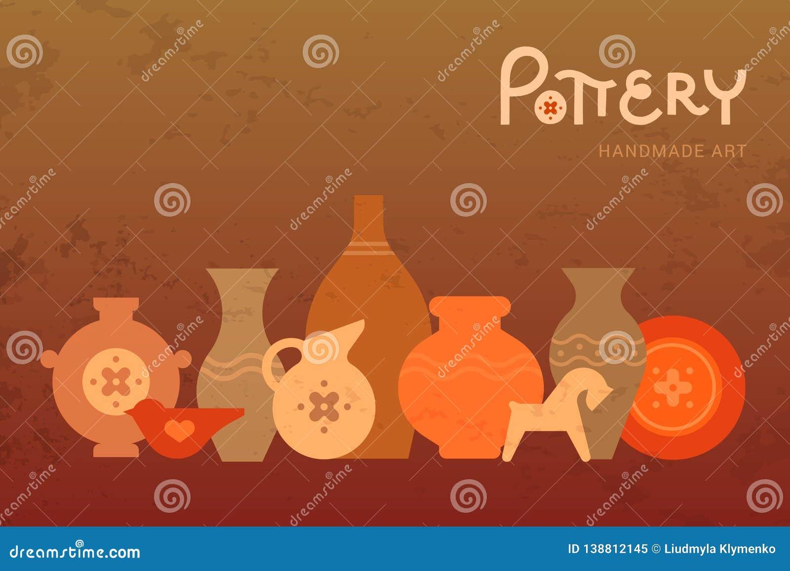 Différents vases à poterie dans la vue horizontale Céramique faite main Clay Pottery Workshop Signe créatif artisanal de pot de m