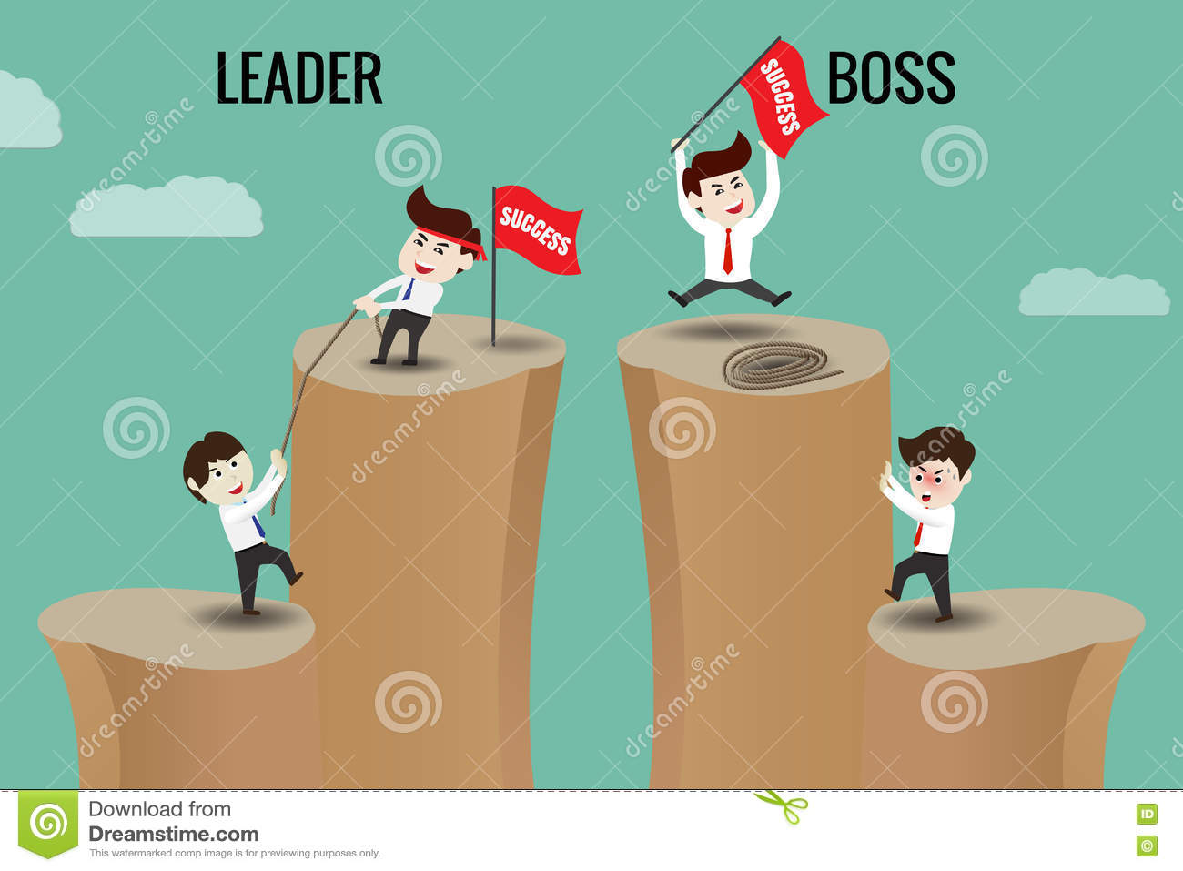 The difference between leader and boss stock vector illustration the difference between leader and boss ccuart Choice Image
