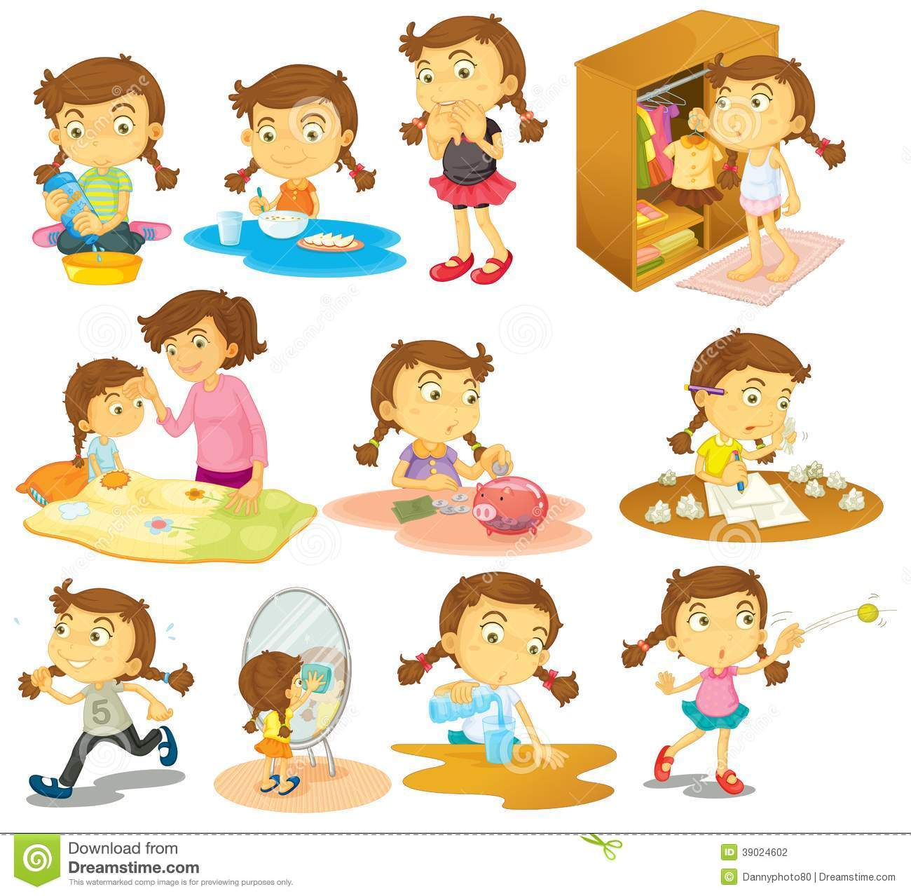 Different Activities Of A Young Girl Stock Vector Image