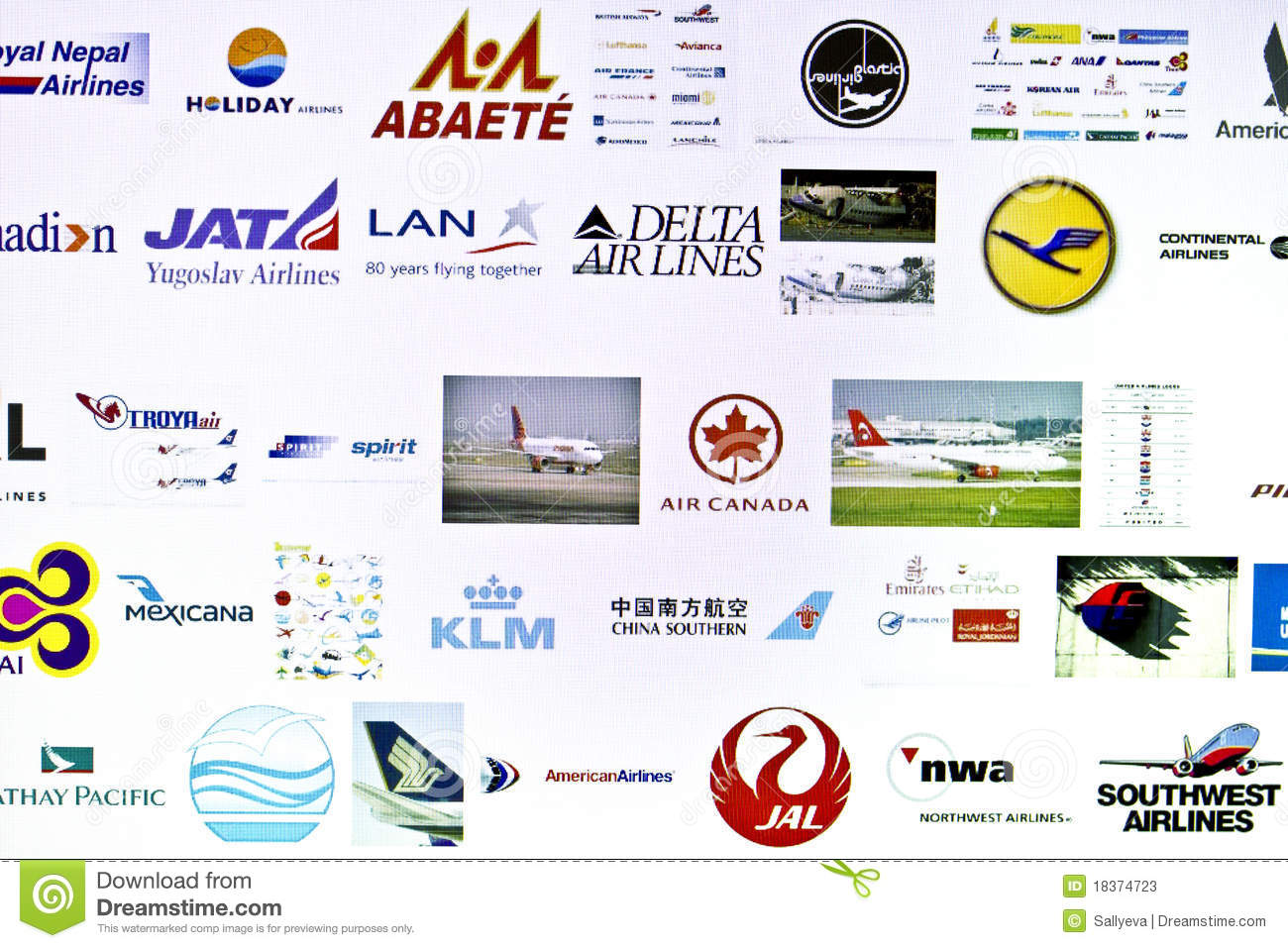 Different Airlines Logo Editorial Stock Photo - Image: 18374723