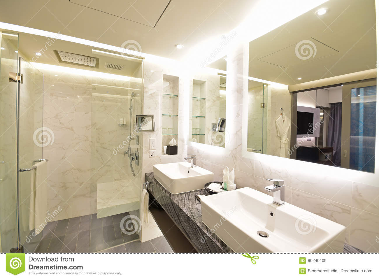 Different Angle Of Luxury Hotel Suite Bathroom With Black & White ...