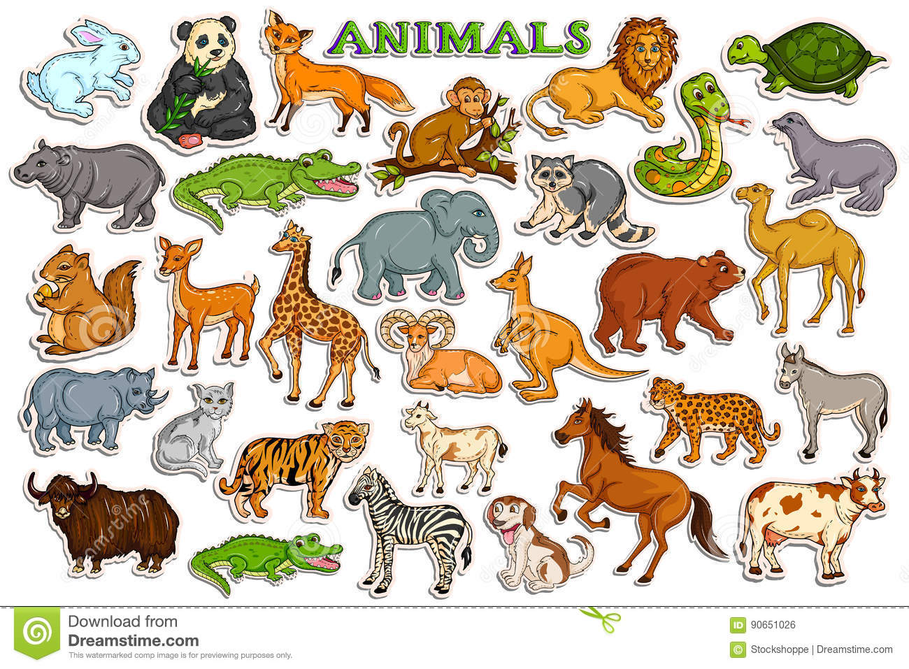 different animal collection sticker cartoon animals vector wild illustration clipart footprints human preview illustrations dreamstime