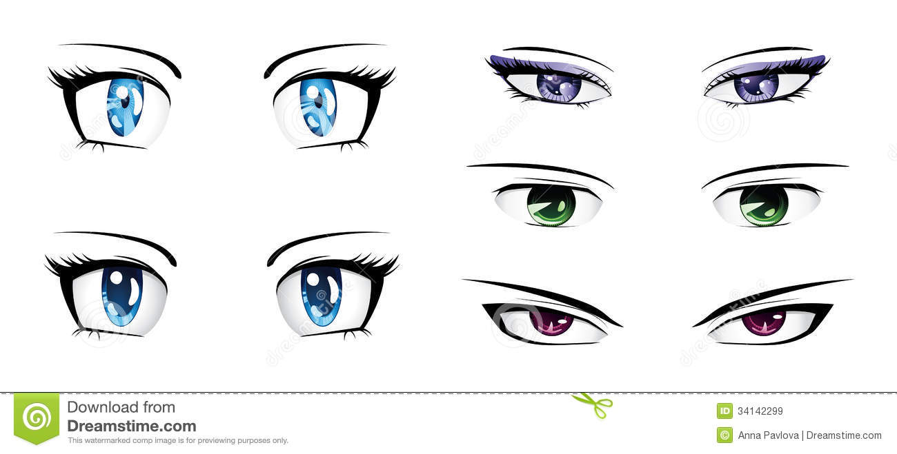 Different anime eyes stock illustration. Illustration of ...