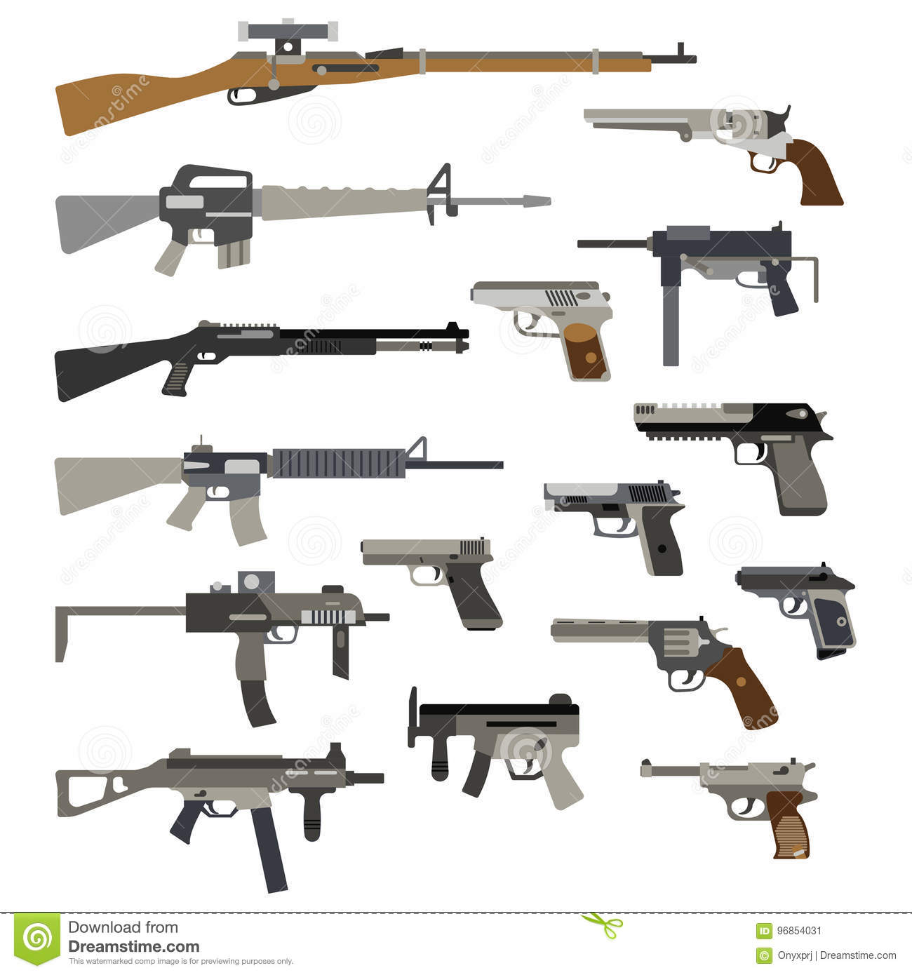 Different Automatic Weapons Vector Illustration Of Guns And Pistols