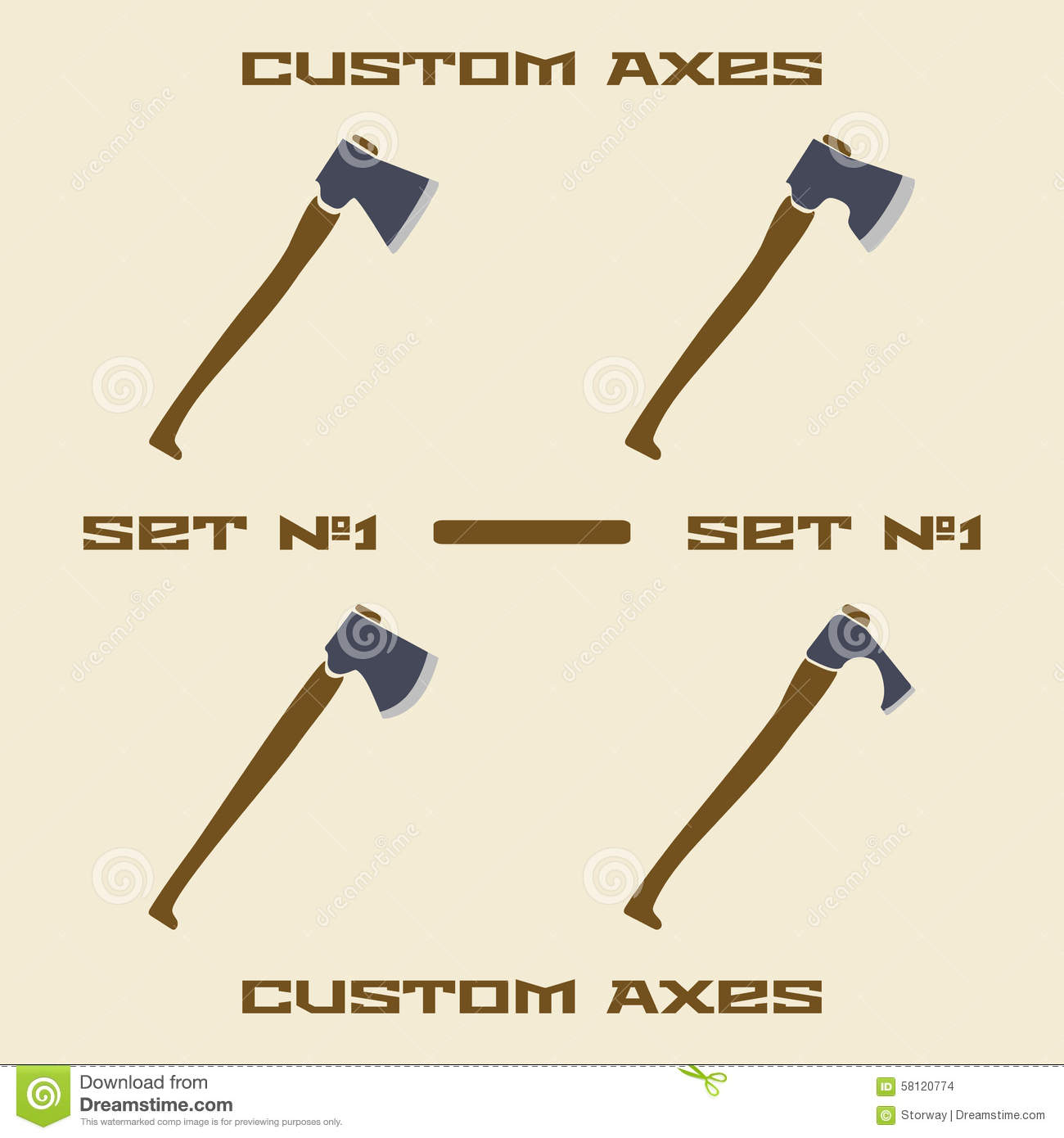 different axe types icon set design template stock vector image