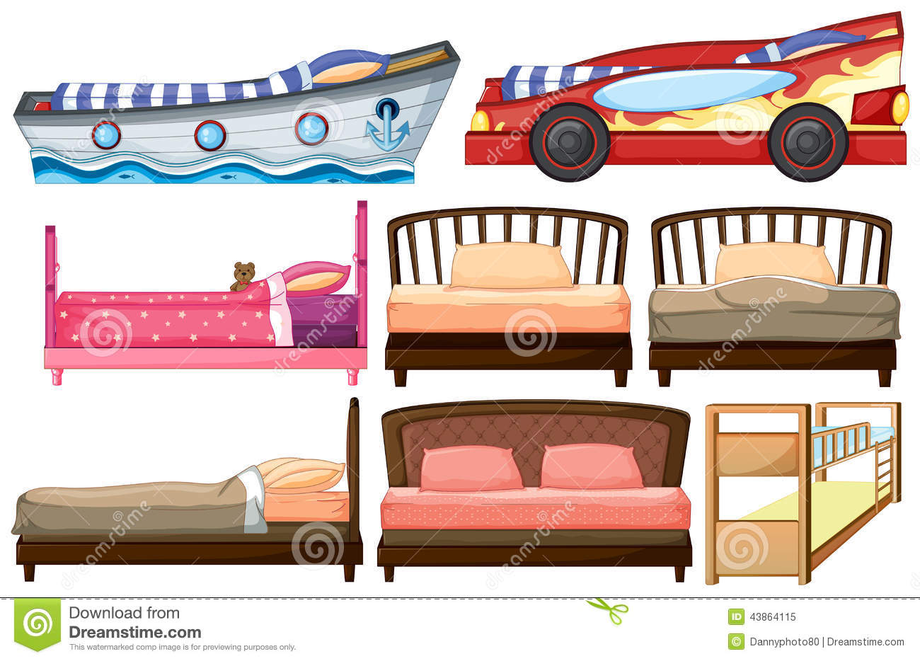 Different bed designs stock vector image 43864115 for Different bed designs