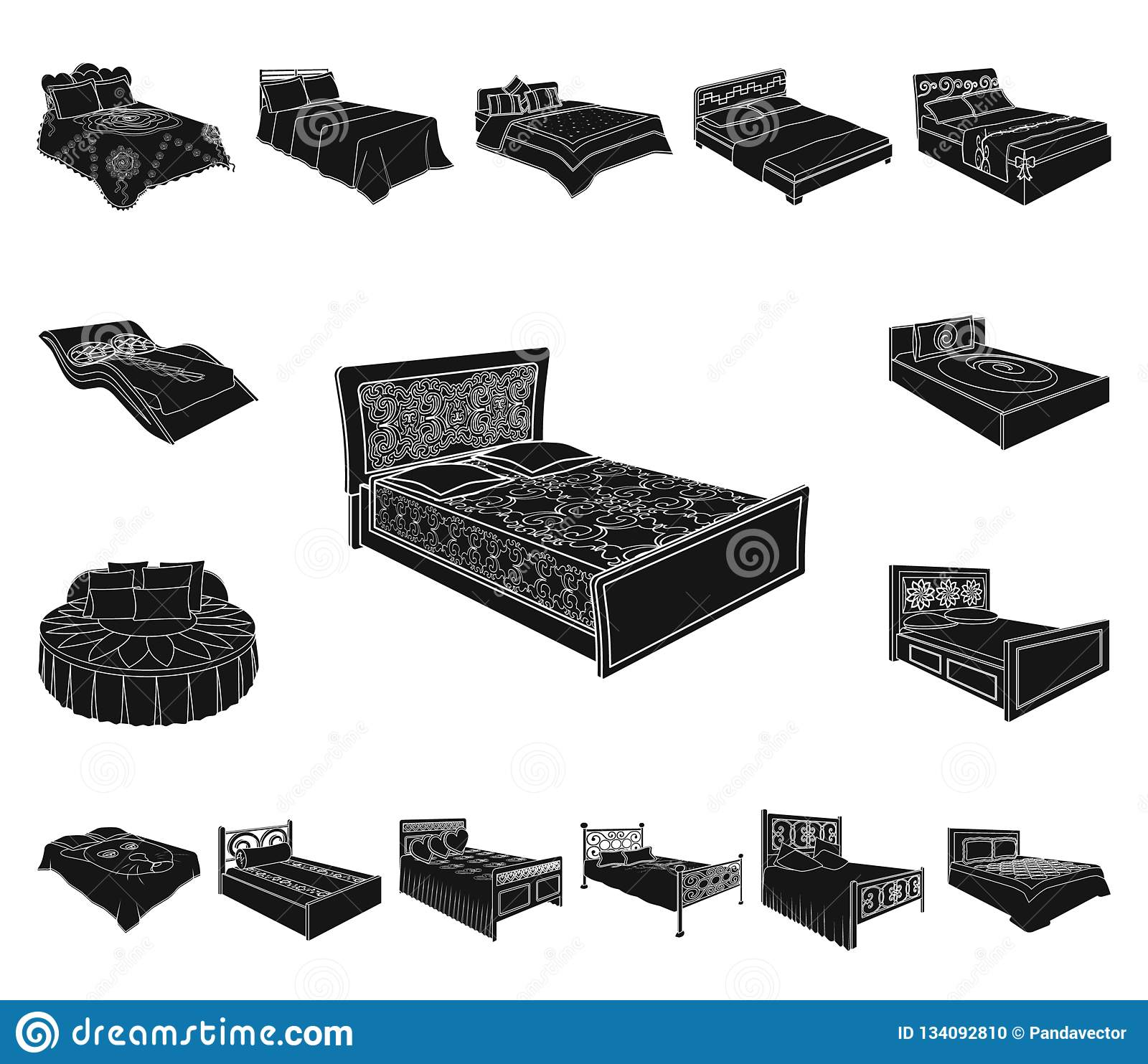 Different beds black icons in set collection for design furniture for sleeping vector isometric symbol stock illustration