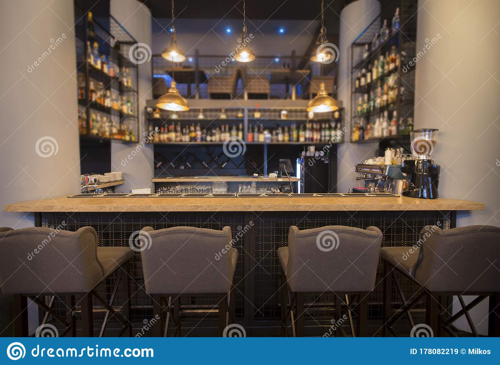 Different Beverages On Bar Counter In Modern Cafe Online Bar Stock Image Image Of Comfortable Clean 178082219