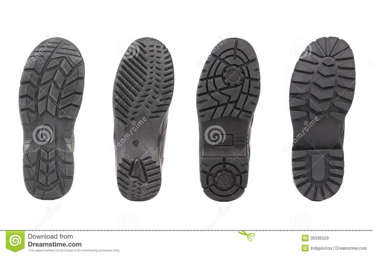 Different Black Shoe Soles Royalty Free Stock Images