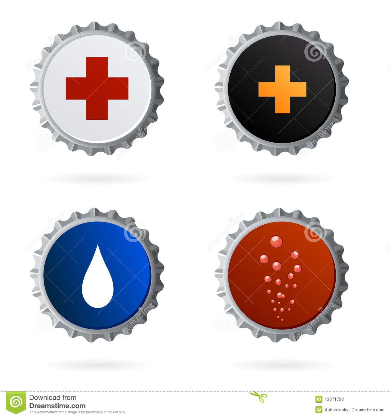 Different Bottle Crown Caps Stock Vector - Illustration of