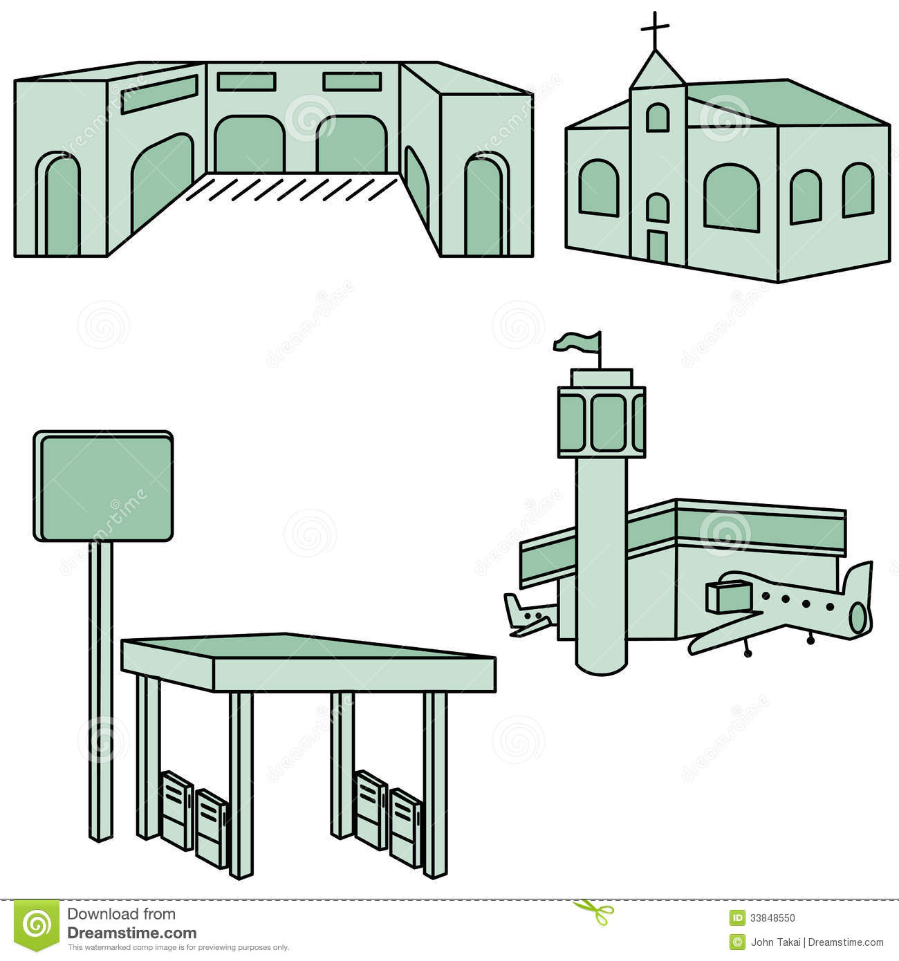 Different Types Of Buildings : Different types of buildings icons set royalty free stock