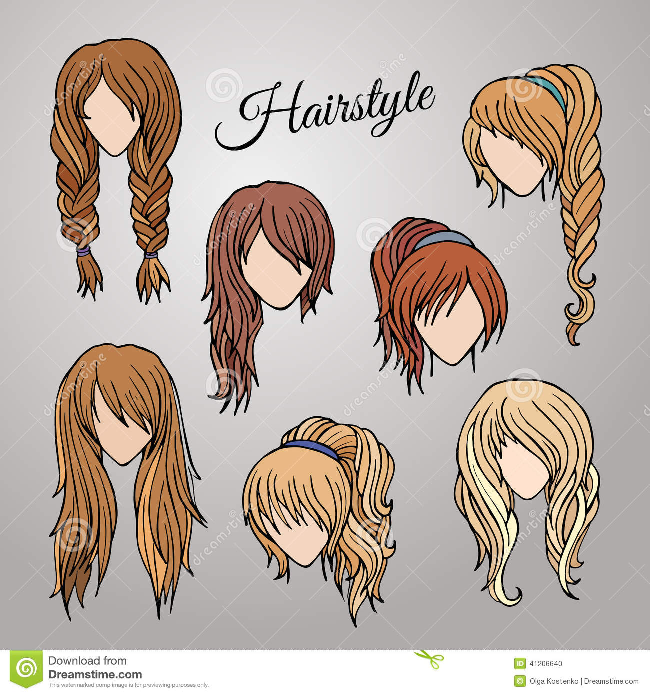 Different Cartoon Hairstyles Stock Vector - Image: 41206640