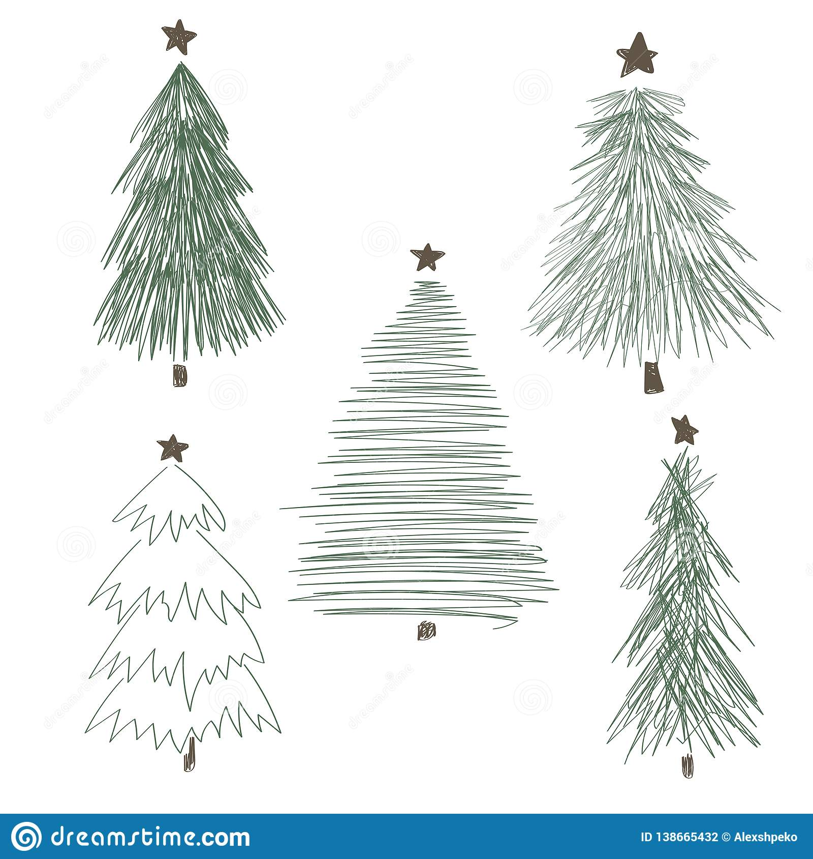 Christmas Trees Drawing.Different Christmas Tree Set Vector Illustration Stock