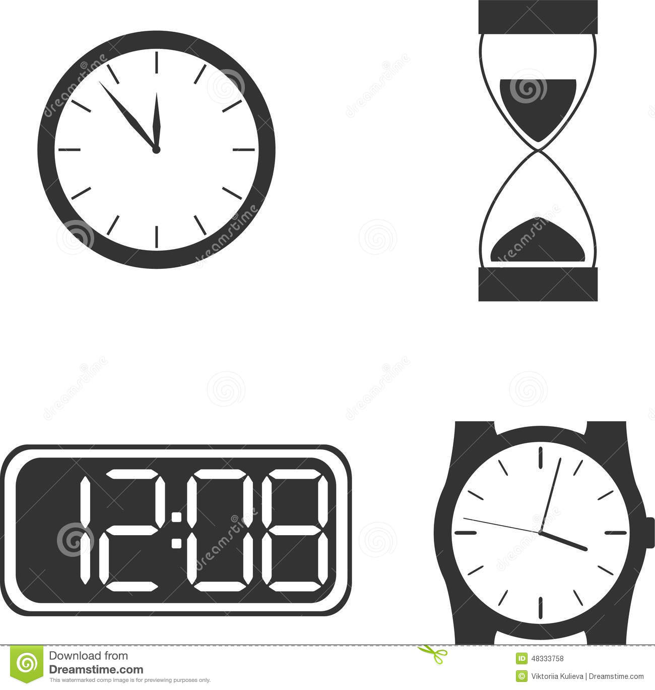 Different clock types stock vector image of chronicker 48333758 different clock types amipublicfo Choice Image
