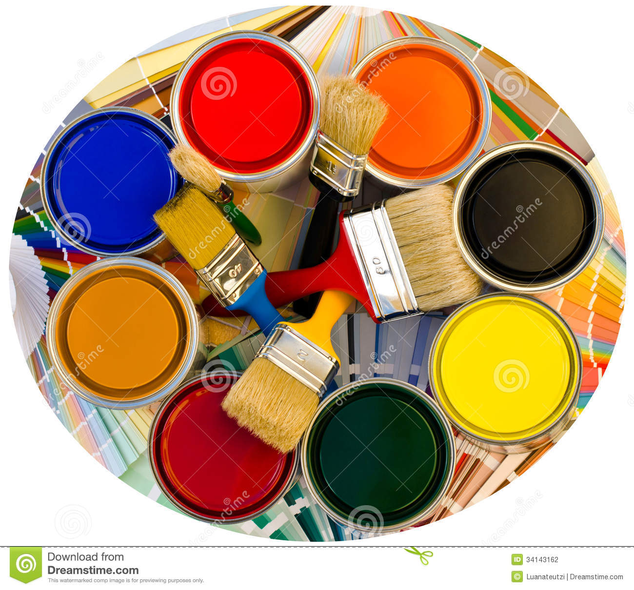 Different Colors Of Paint: Different Color Cans Of Paint And Brushes On Swatches