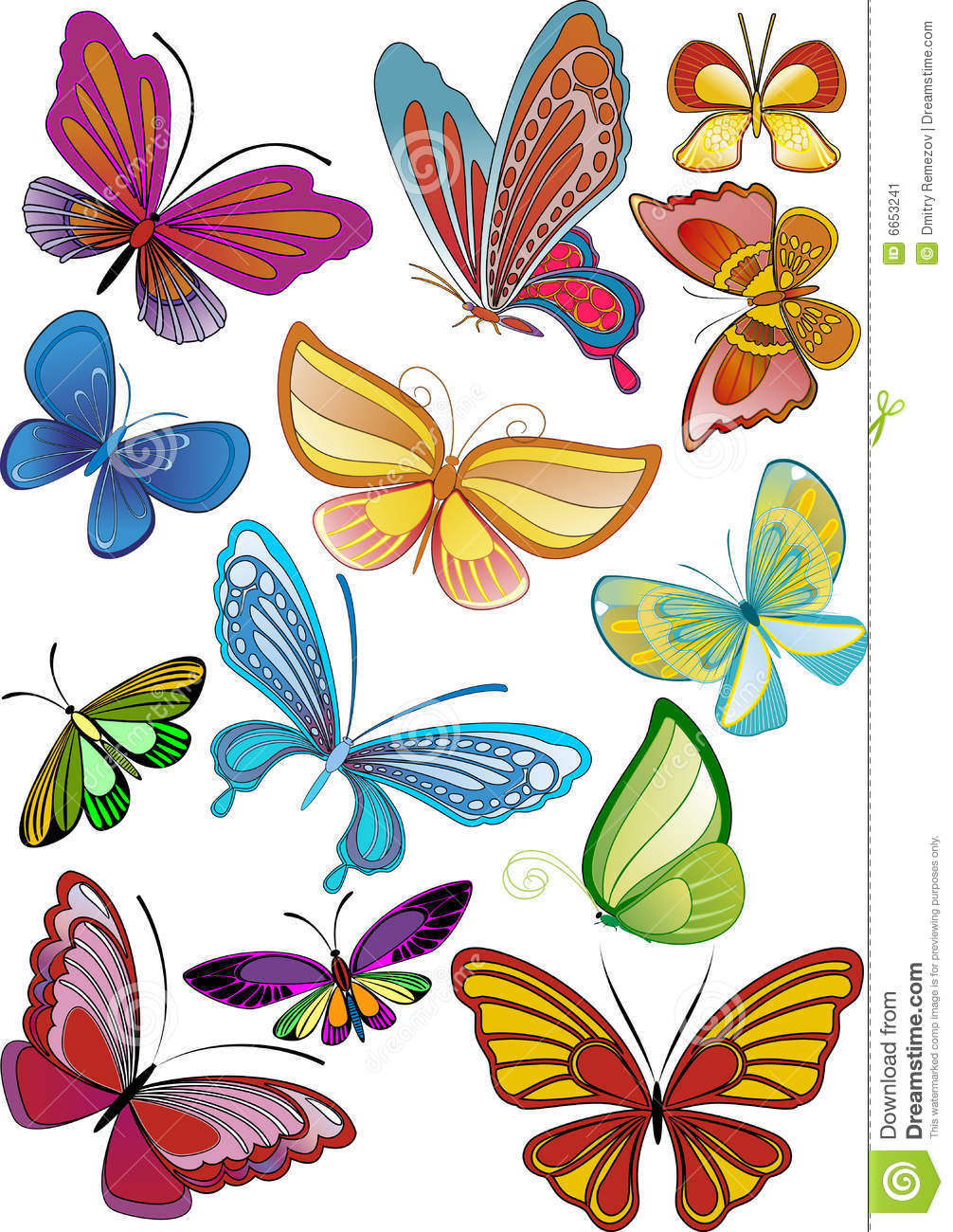 different colored butterflies stock image image 6653241