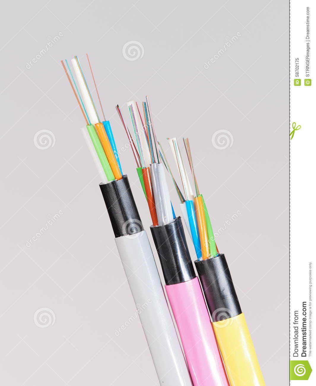 Different Colored Fiber Optic Cable Ends With Stripped Jacket Layers Wiring And Exposed Fibers