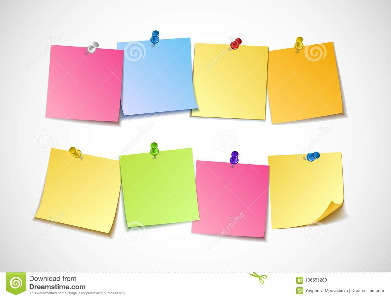 different colored sheets of note papers collection stock vector