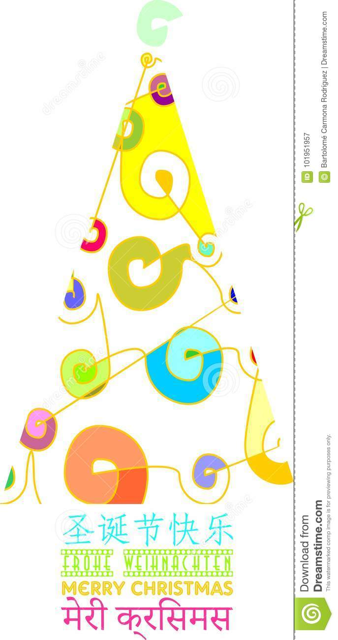 Different And Colorful Christmas Card Decorated With Xmas Tree In