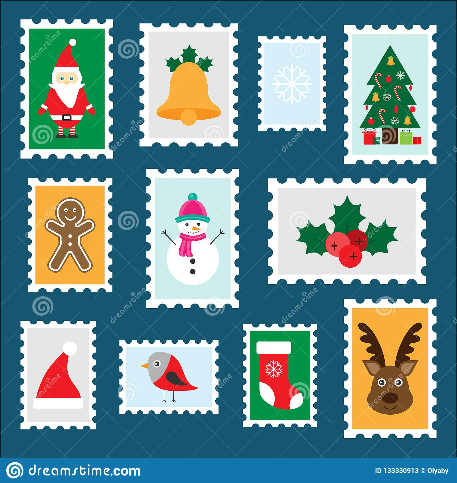 Christmas Preschool.Different Colorful Christmas Postage Stamps For Children