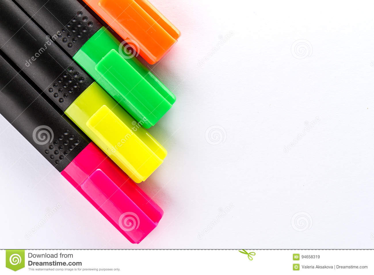 Different Colorful Markers With Office Accessories On White Office Table Top View Work Study Concept Stock Image Image Of Conceptual Office 94658319